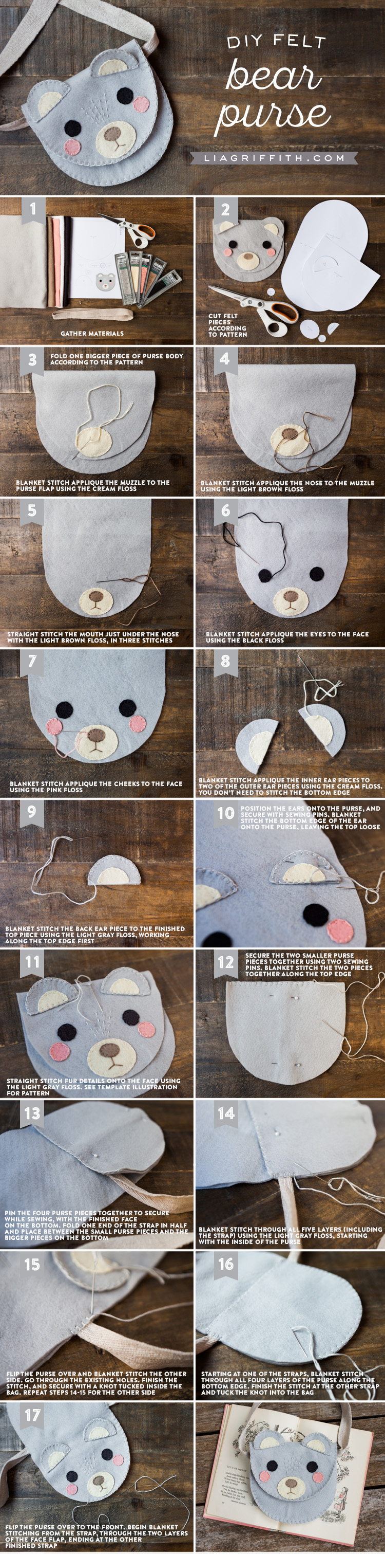 DIY step by step photo tutorial for bear felt bag by Lia Griffith