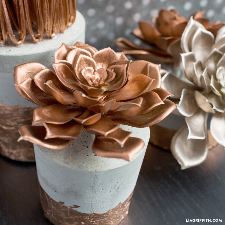 DIY concrete planters with copper foil