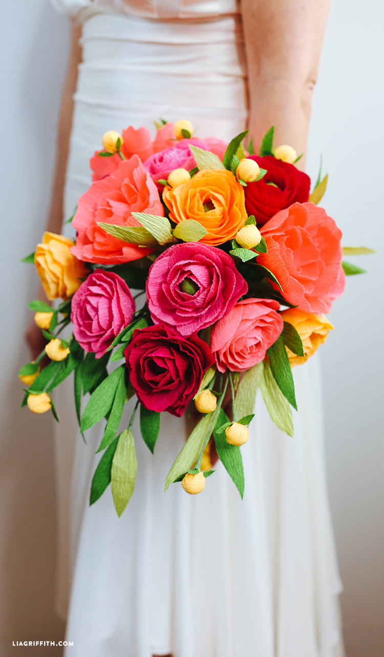 Diy bridal bouquet with fresh and crepe paper flowers crepe paper neon wedding bouquet paper wedding flowers mightylinksfo