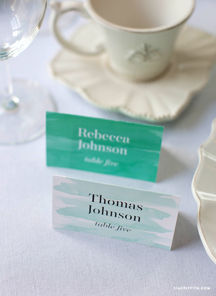 Teal Wedding Placecards
