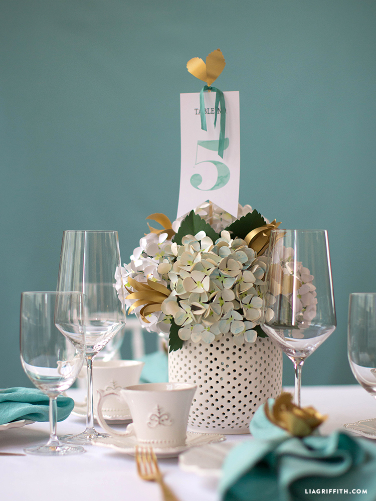 Watercolor Teal Wedding Table Numbers Lia Griffith