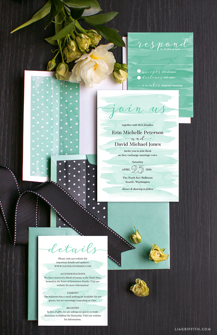 Watercolor Teal Wedding Invitations - Lia Griffith