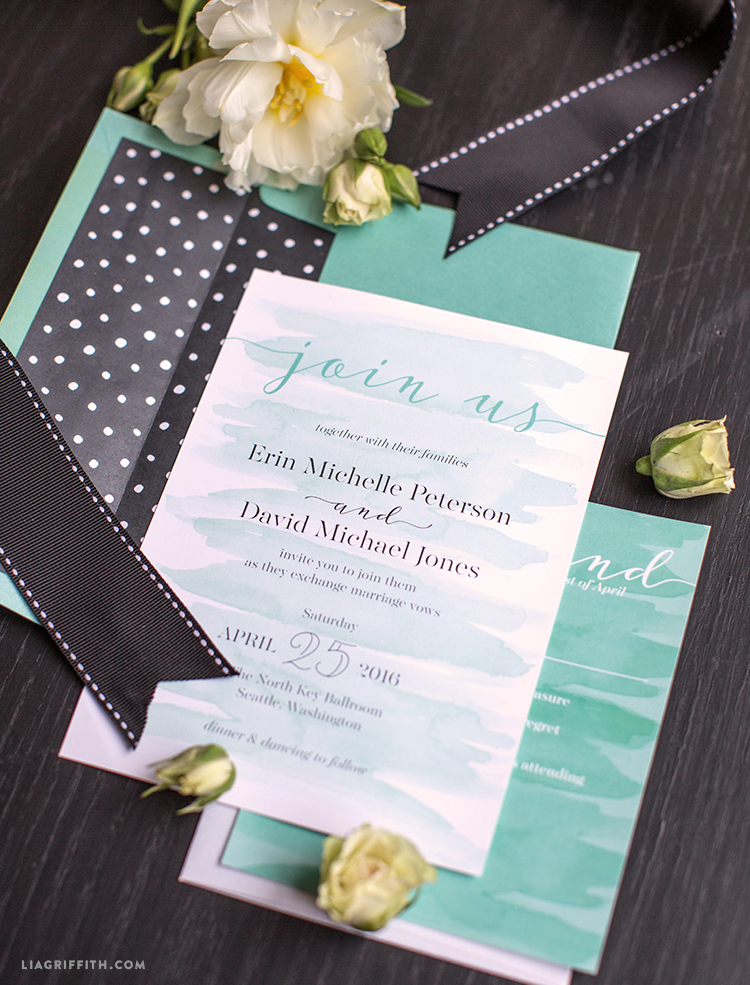 watercolor teal wedding invitations - lia griffith, Wedding invitations