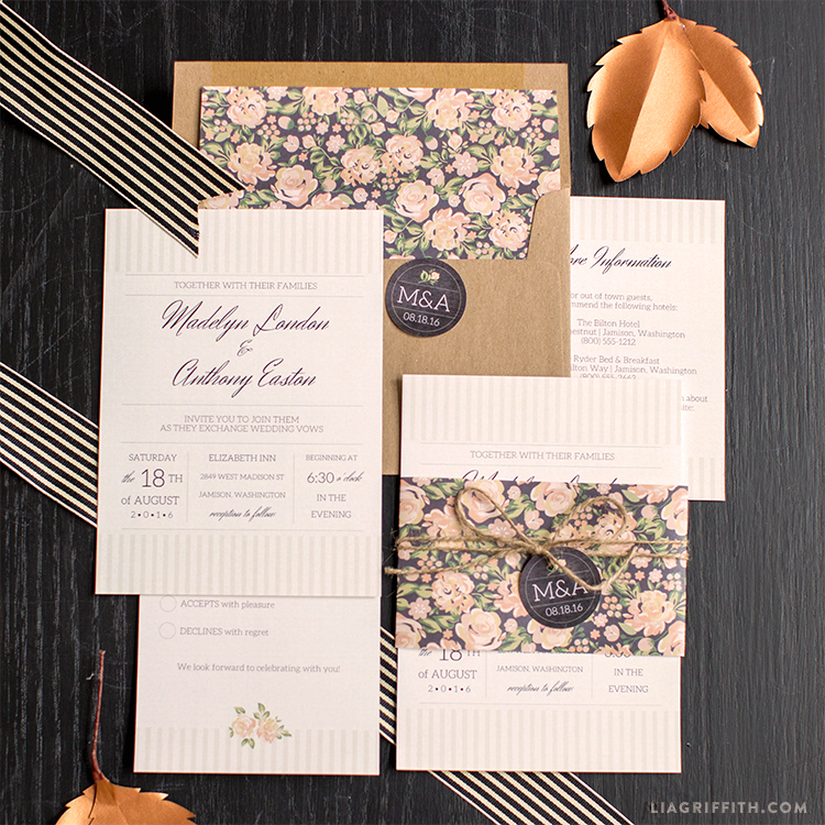 Vintage Wedding Invitation Suite - Lia Griffith