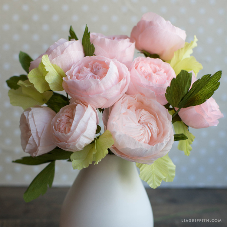 Pink Juliet Rose Crepe Paper Flowers