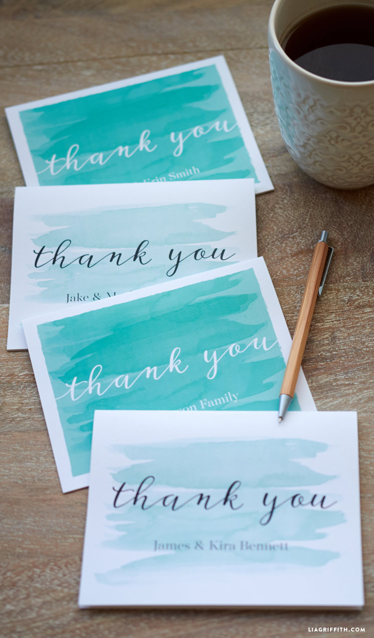 watercolor teal wedding thank you cards