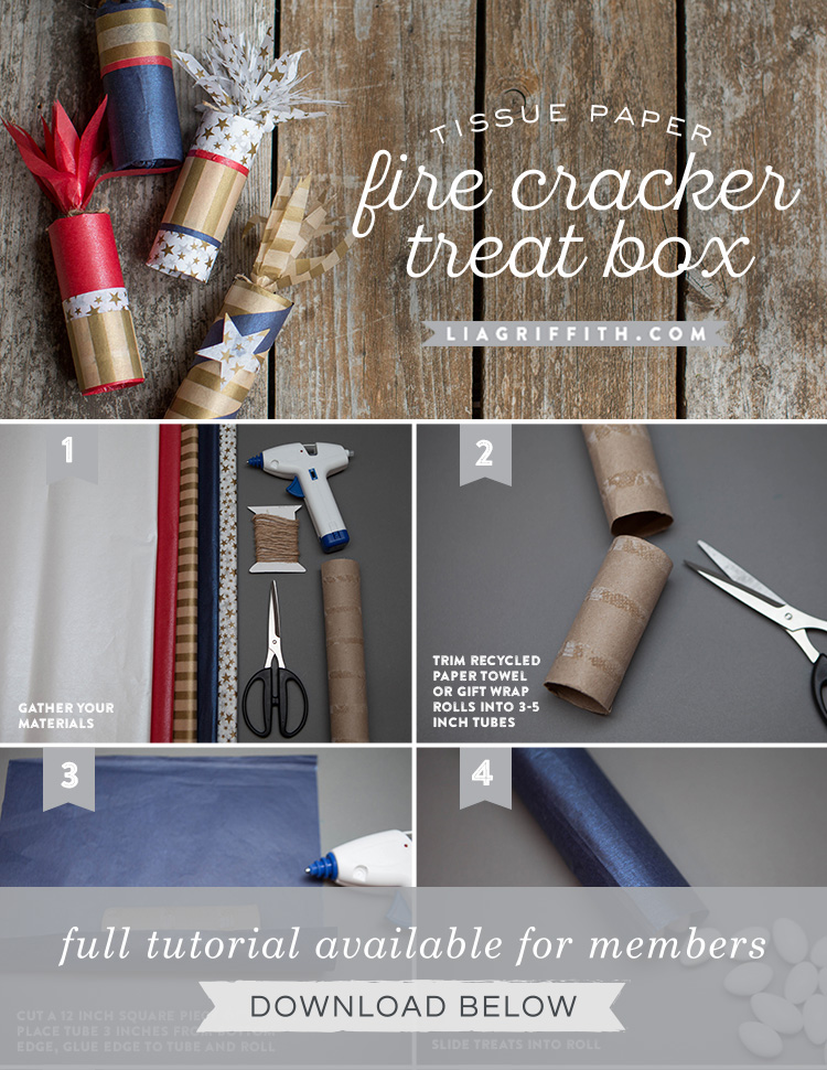 4th of July Crafts: Tissue Paper Firecracker Treat Boxes