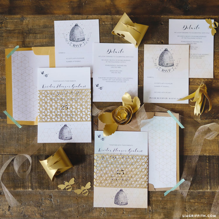 Honey Bee Wedding Invitations - Lia Griffith