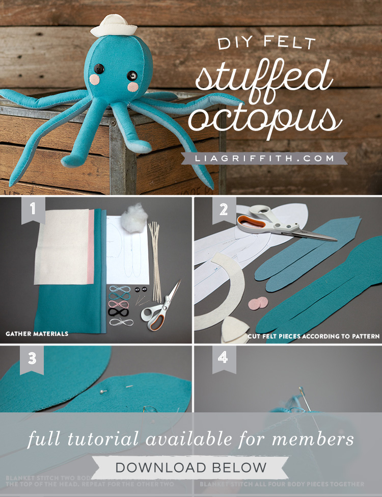 photo regarding Free Printable Stuffed Animal Patterns named Felt Octopus Stuffie - Lia Griffith