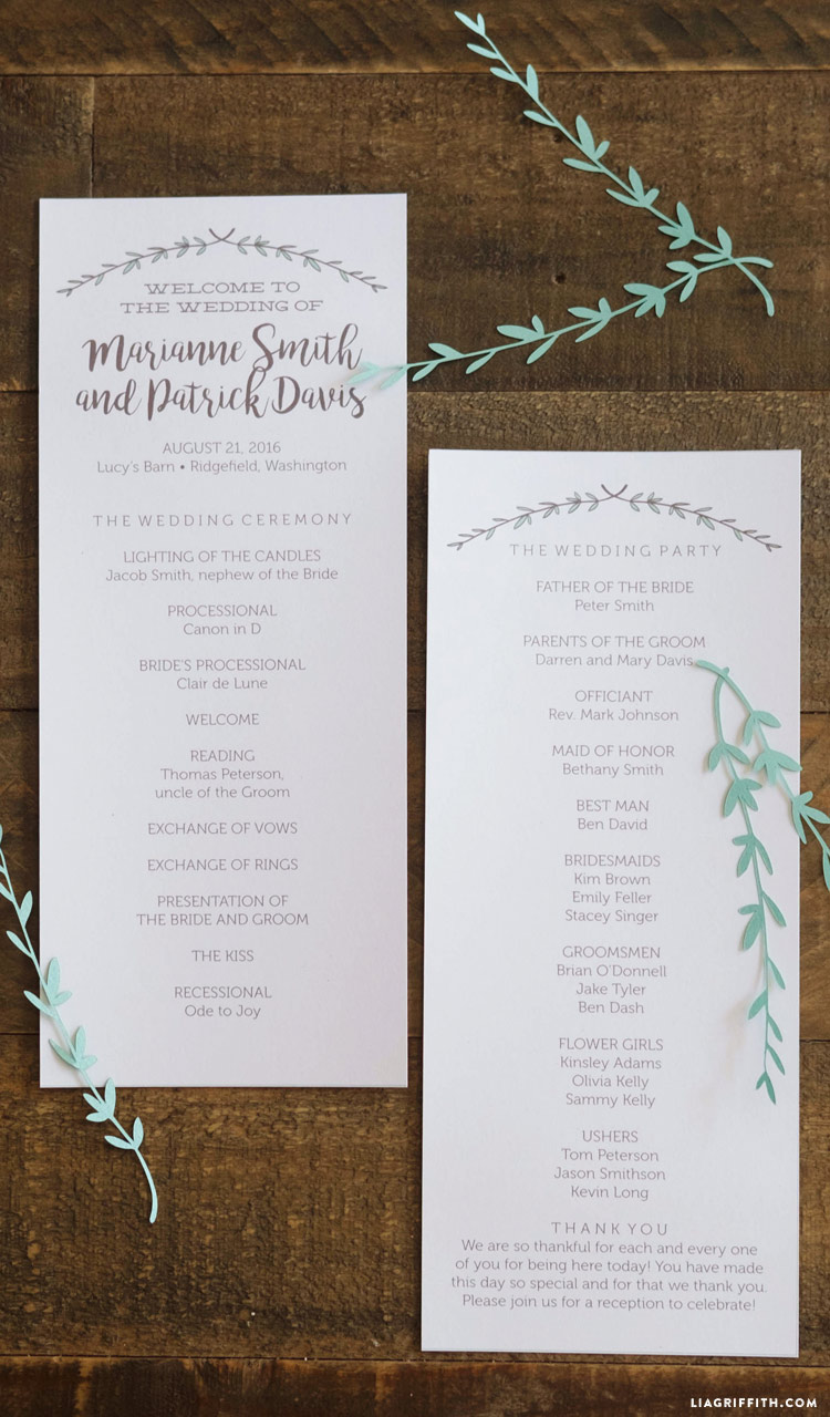 Herb and Woodgrain Wedding Programs
