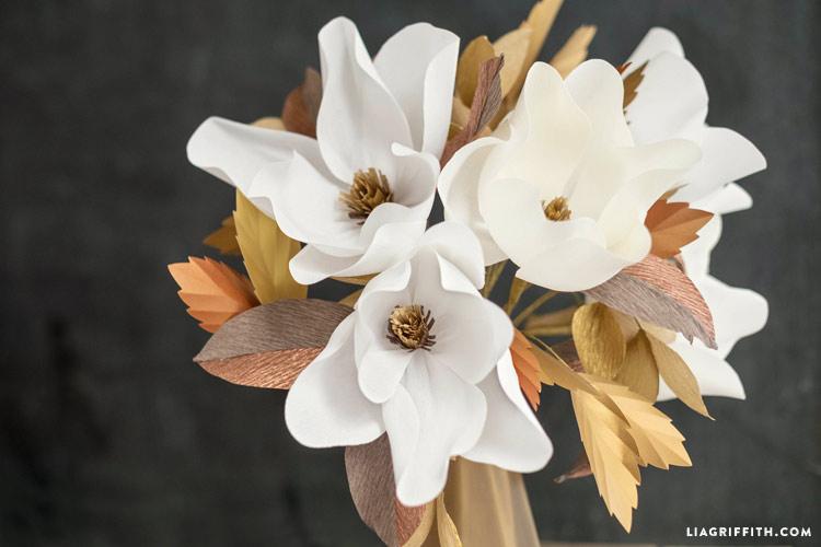 Crepe Paper Magnolia Bouquet