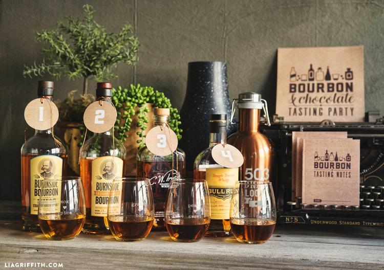 printable bourbon and chocolate party kit