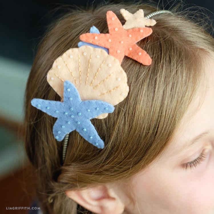 diy felt seashell head band mermaid