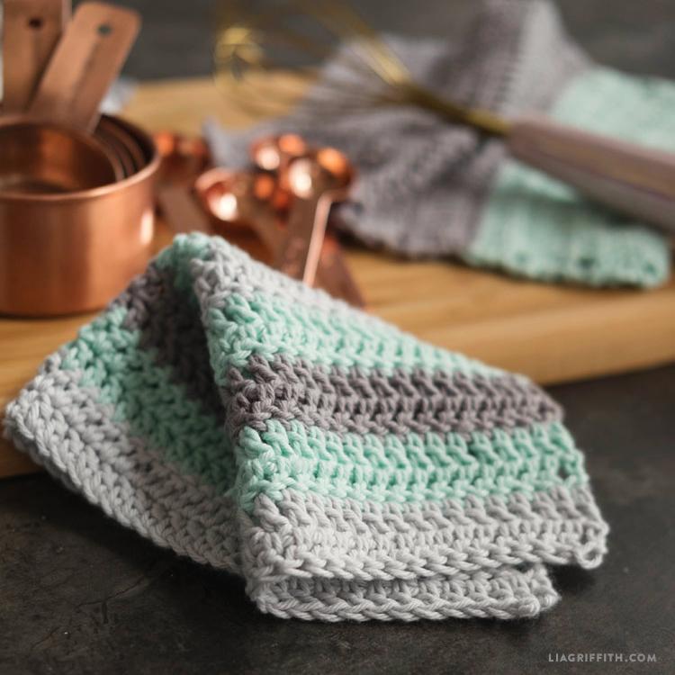 Double Crocheted DIY Dishcloths - Lia Griffith