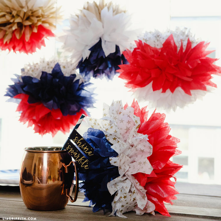 Fourth of July Tissue Poms