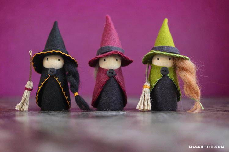 Diy Halloween Witch Peg Dolls Lia Griffith