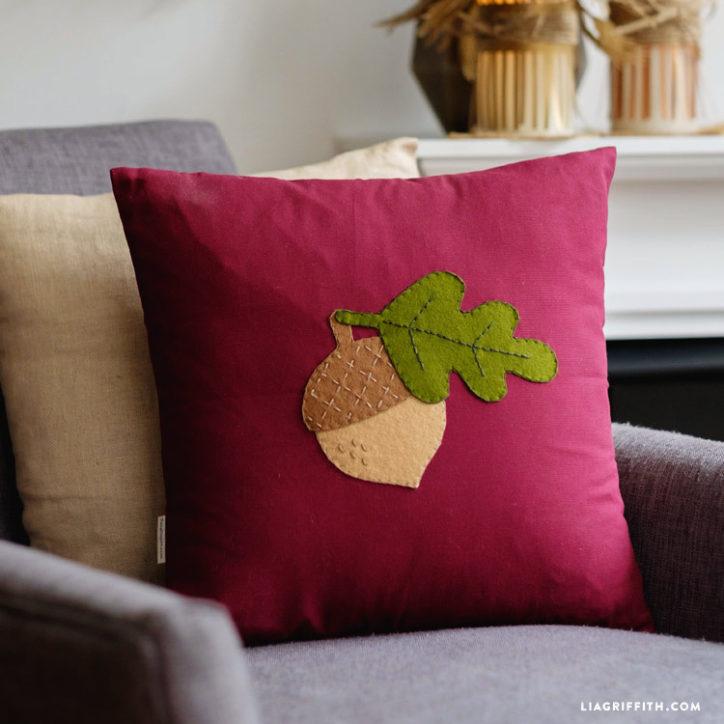 Felt Acorn throw pillow