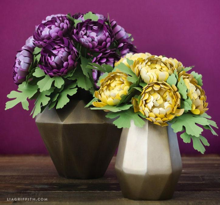 Metallic Paper Chrysanthemums Lia Griffith