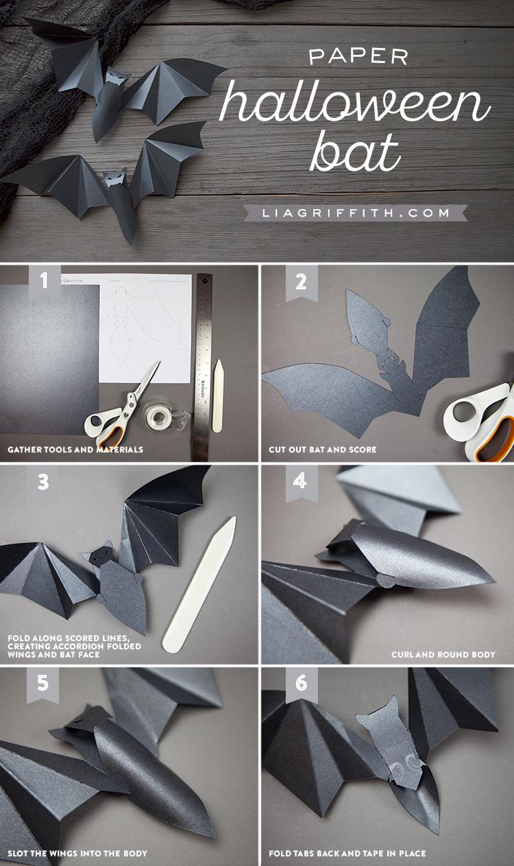 Paper Halloween Bats Tutorial
