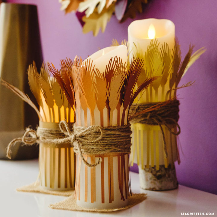 Cut out paper wheat and candles