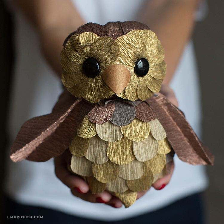 Gold and copper paper owl
