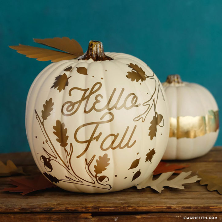 Hello Fall Painted Pumpkin