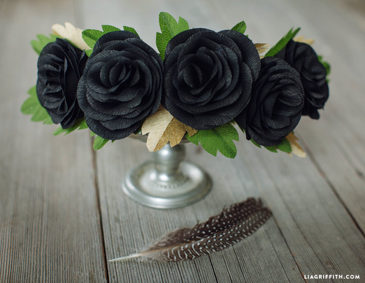 DIY Black Rose Head Wreath for skeleton costume
