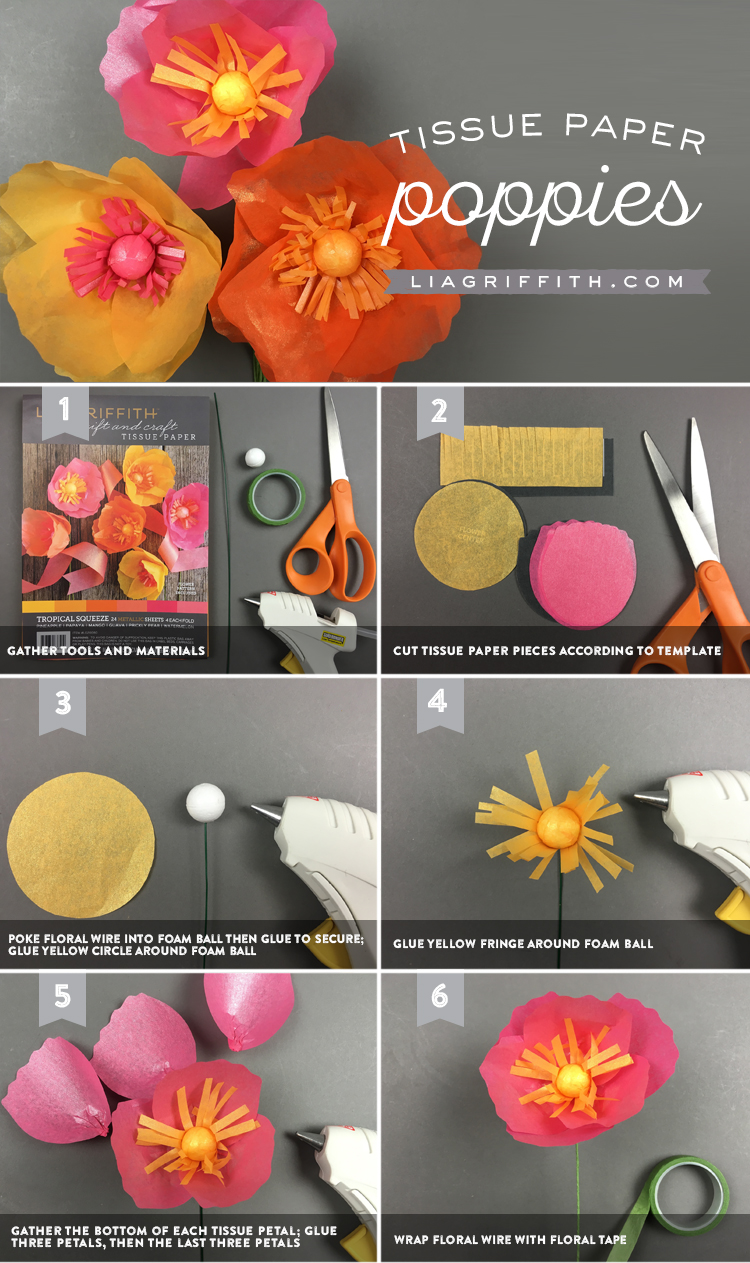 Tissue Paper Poppies Tutorial