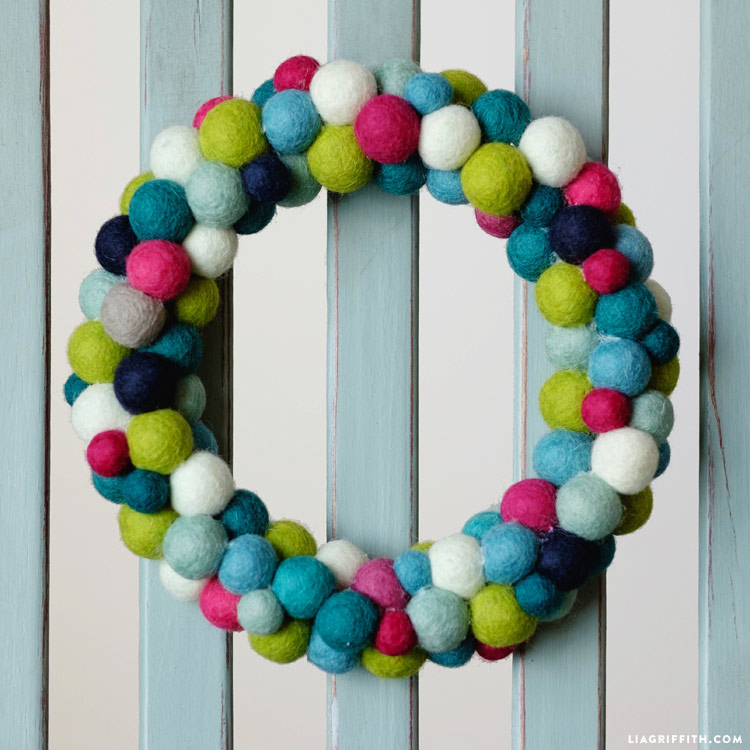 LG Felt Ball Wreath