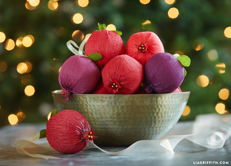 Crepe Paper Pomegranate Holiday Decoration Ornaments