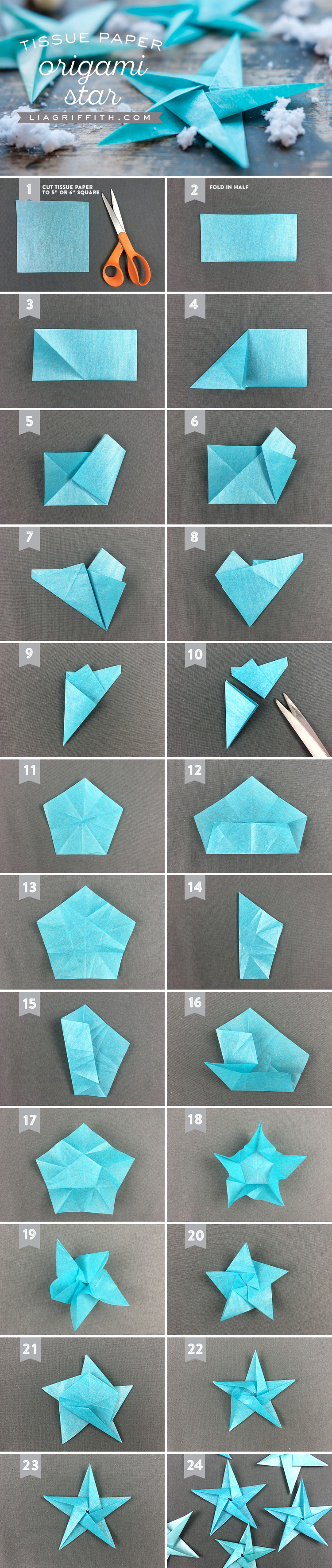 Tissue star origami christmas ornaments lia griffith for Cool things to make with paper for your room