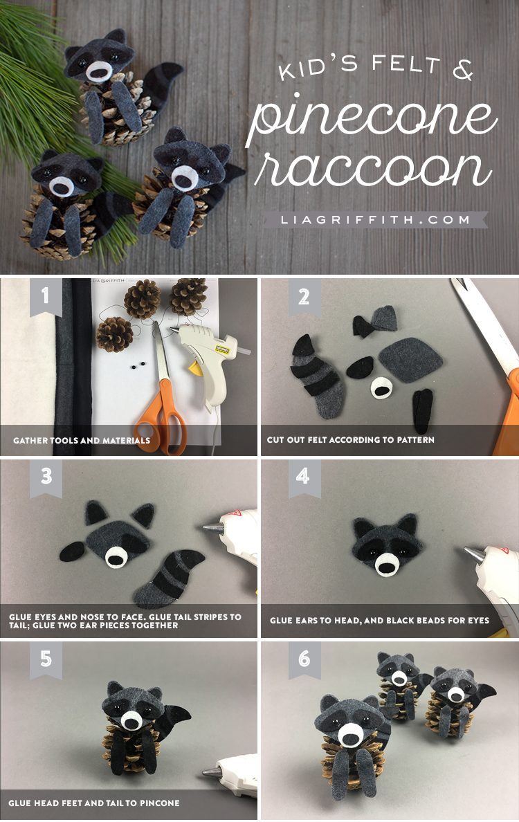 Felt and Pinecone Raccoons Tutorial