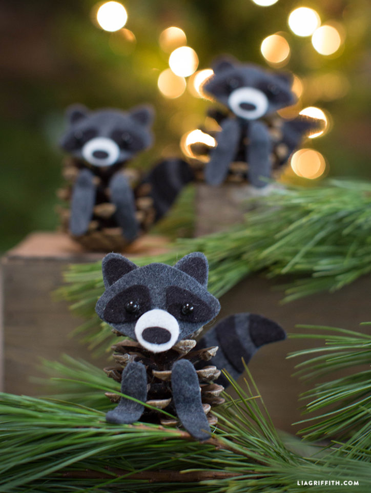 Felt and Pinecone Raccoons