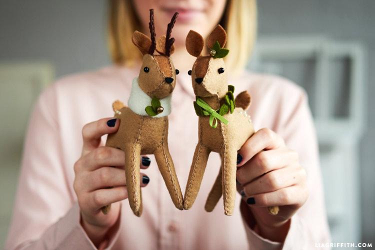 woman holding DIY Felt Reindeer