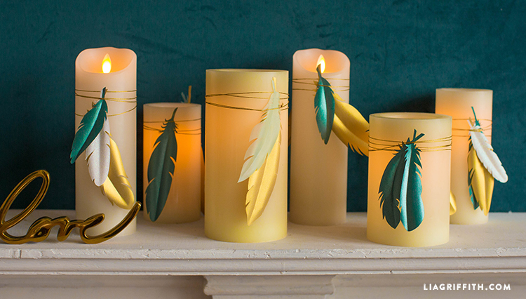 Fantastic DIY Paper Feather Candle Wraps | 10 Minute Decor Project XY94