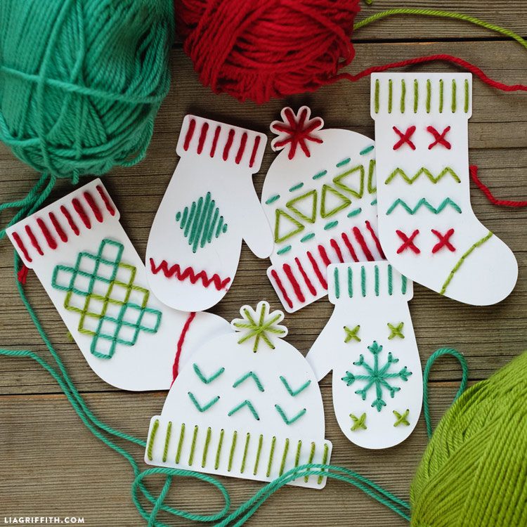 Christmas Yarn Art on Paper Mittens and Stockings