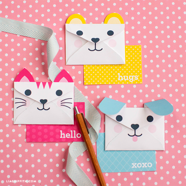 Kids animal face envelopes