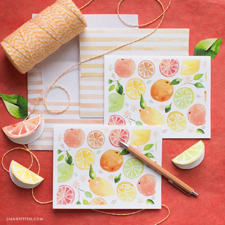 Watercolor Citrus Notecards