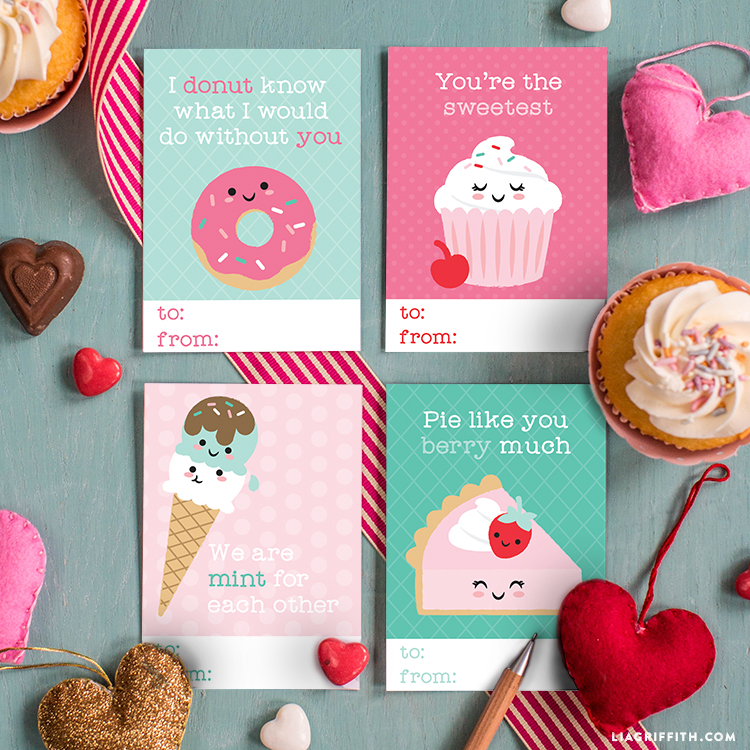 Sweet Kids Valentines Day Cards Lia Griffith – Food Valentine Cards