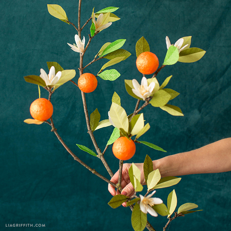 make a paper orange blossom for gorgeous winter home decor