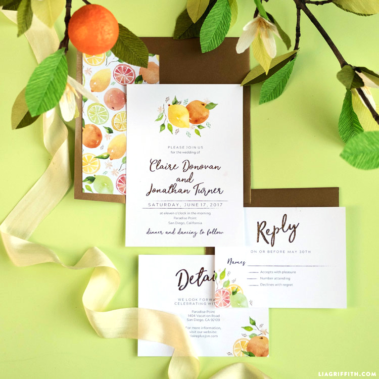 Printable Citrus Invitations for Weddings or Parties