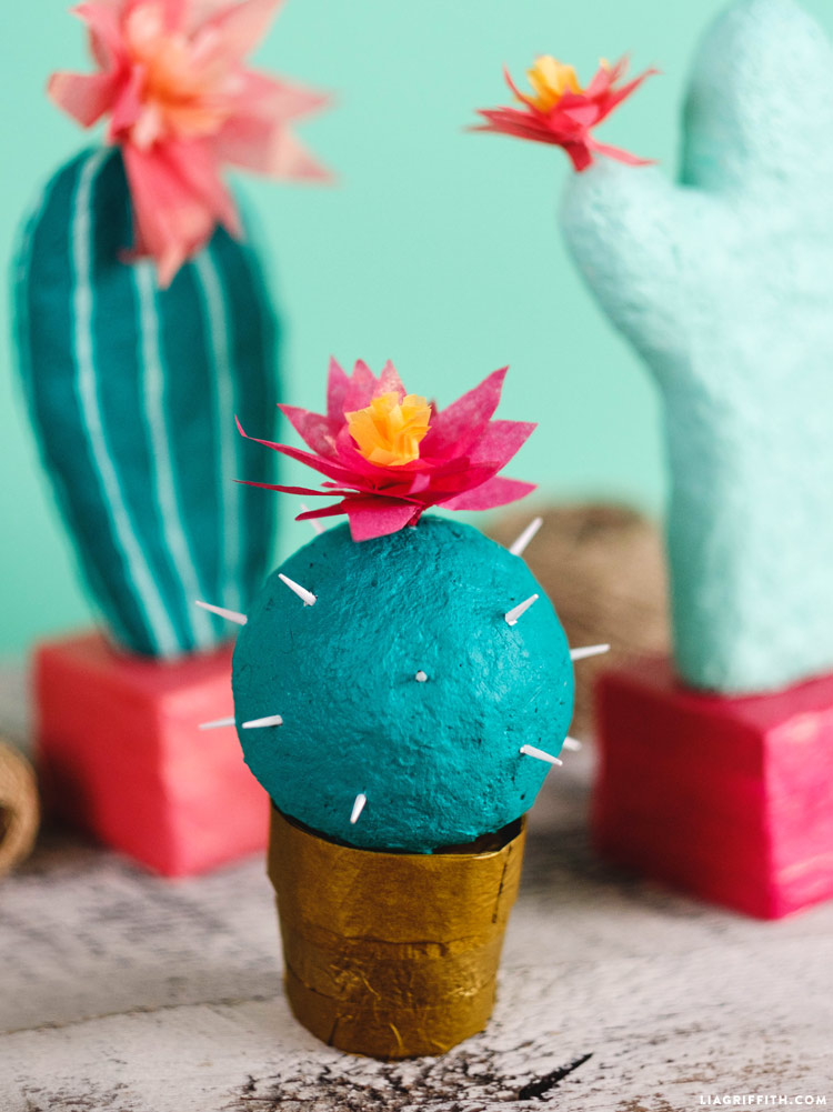 Adorable Papier Mache Cactus DIY Tutorial