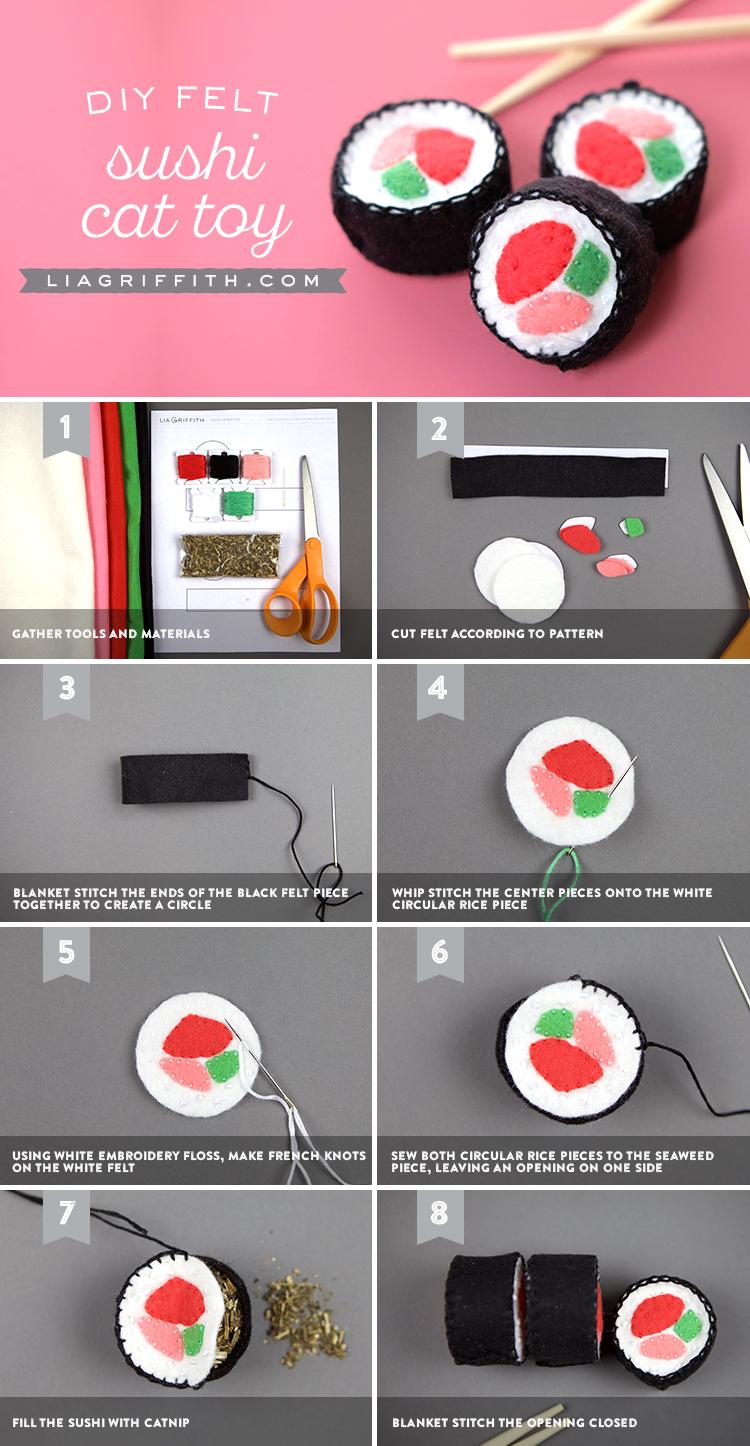 Felt sushi template to make diy cat toys for Felt cat toys diy