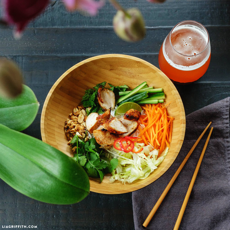 Vietnamese Noodle Salad Recipe with Lemongrass Chicken