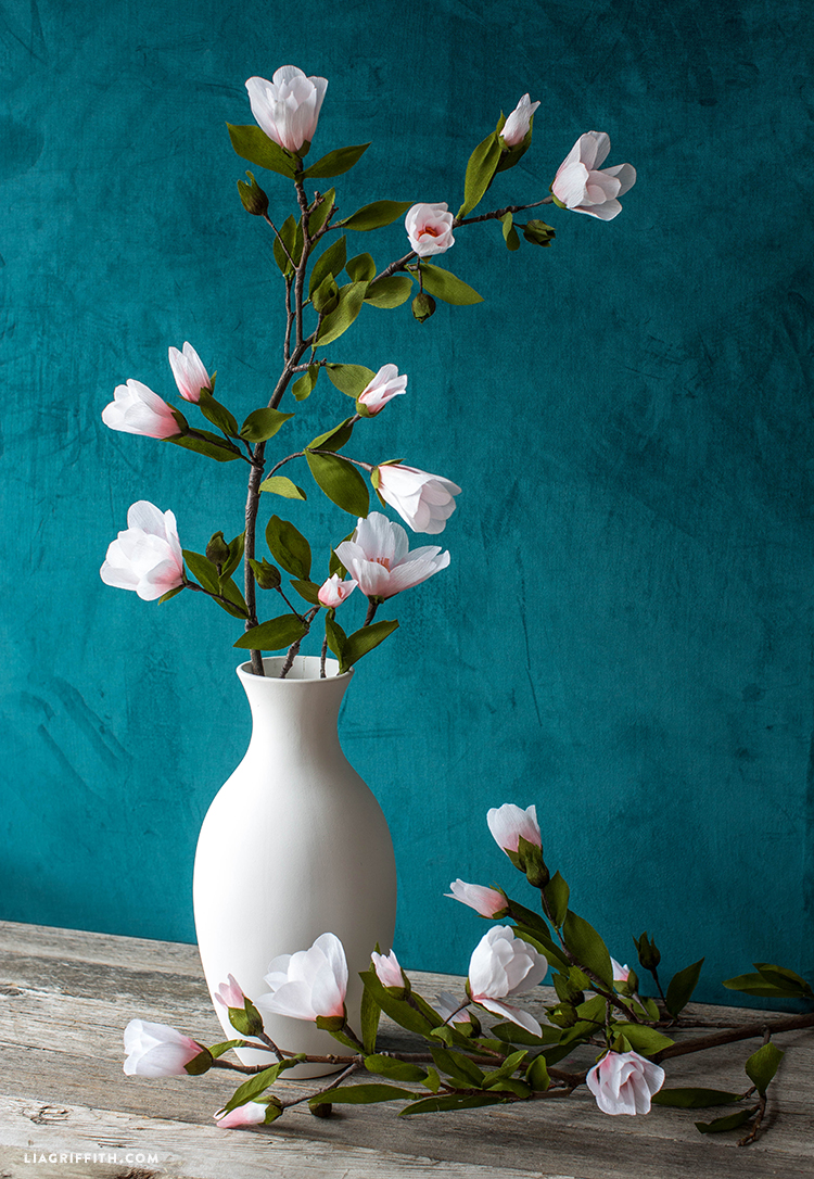 Diy crepe paper magnolia branch video tutorial branching out for spring mightylinksfo