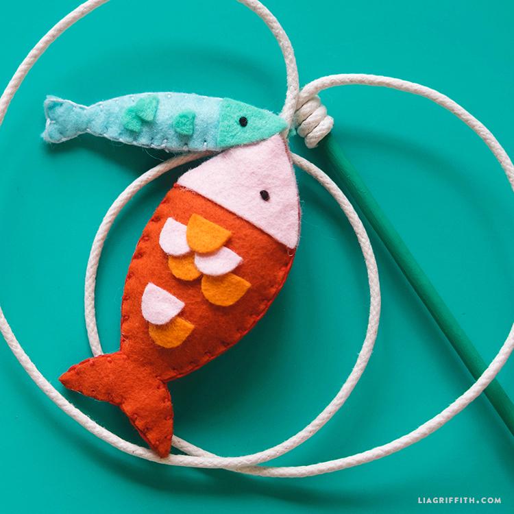 handmade felt fish cat toys