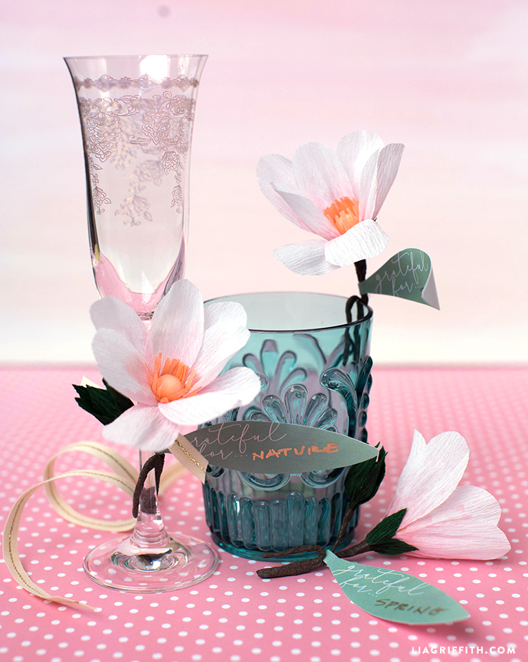 Crepe . Paper Magnolia Bloom Drink Toppers