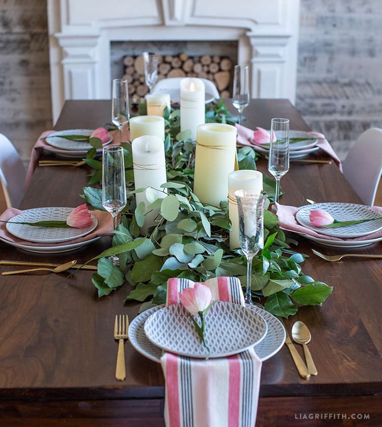 DIY Fresh Greenery Table Runner