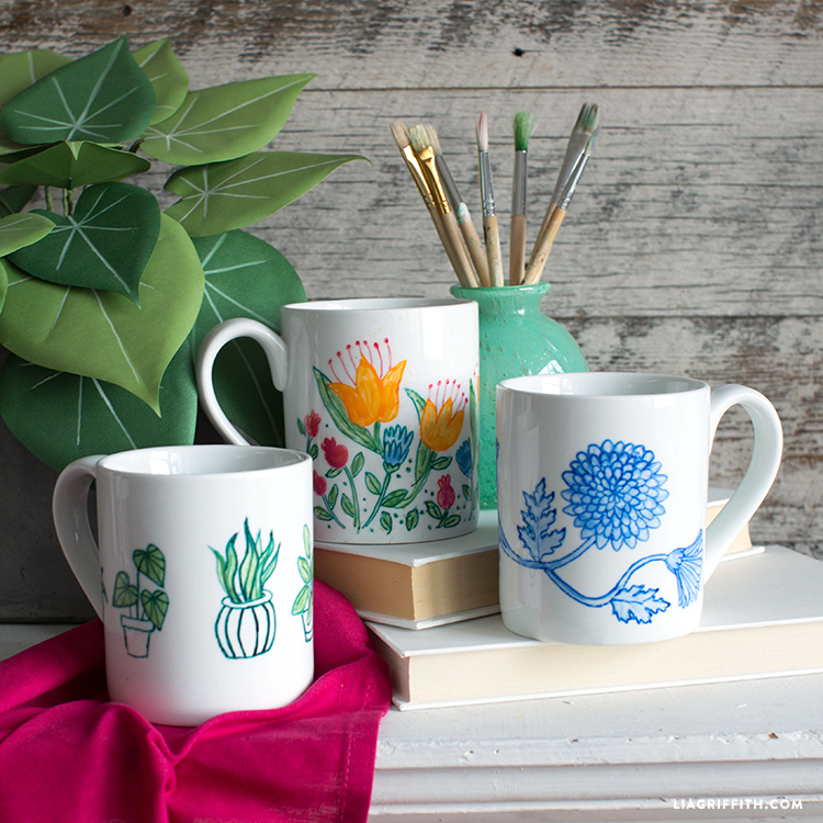 DIY Hand Painted Mugs