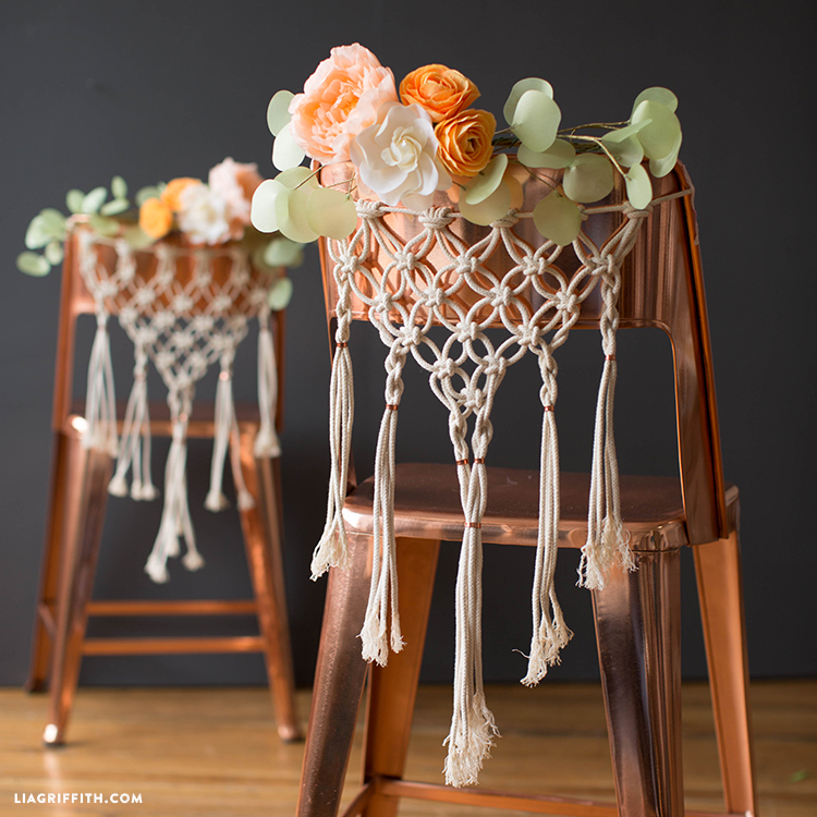 Diy macrame chair decor for weddings pattern and tutorial macrame chair decor junglespirit